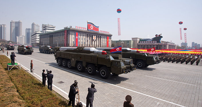Musudan-class missiles are displayed during a military parade in honour of the 100th birthday of the late North Korean leader Kim Il-Sung in Pyongyang on April 15, 2012