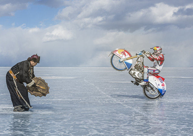 When faced with the danger of falling through the thin ice of Lake Baikal, moto racer Daniil Ivanov asked for the help of a local shaman to bless his risky endeavor.
