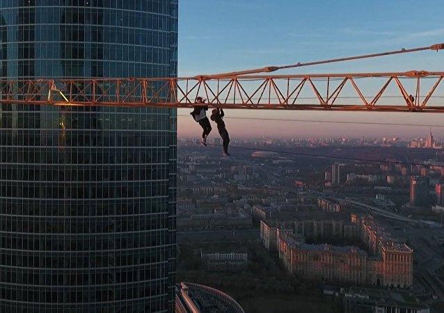 Thrill Seeking in Moscow: Daredevils Climb a Crane