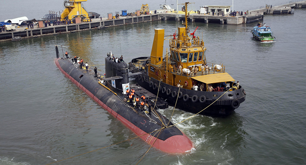 The INS Kalvari, one of the six Scorpene diesel-electric attack submarines, is set afloat at the naval dockyard in Mumbai, India (File)