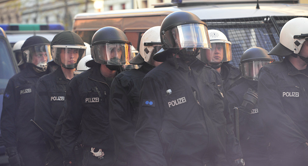 Police patrol at the traditional 'Revolutionary' May Day demonstration in Berlin, on May 1, 2016. Thousands of leftists, trade unionists and workers took to the streets of the capital on the occasion of International labour day.