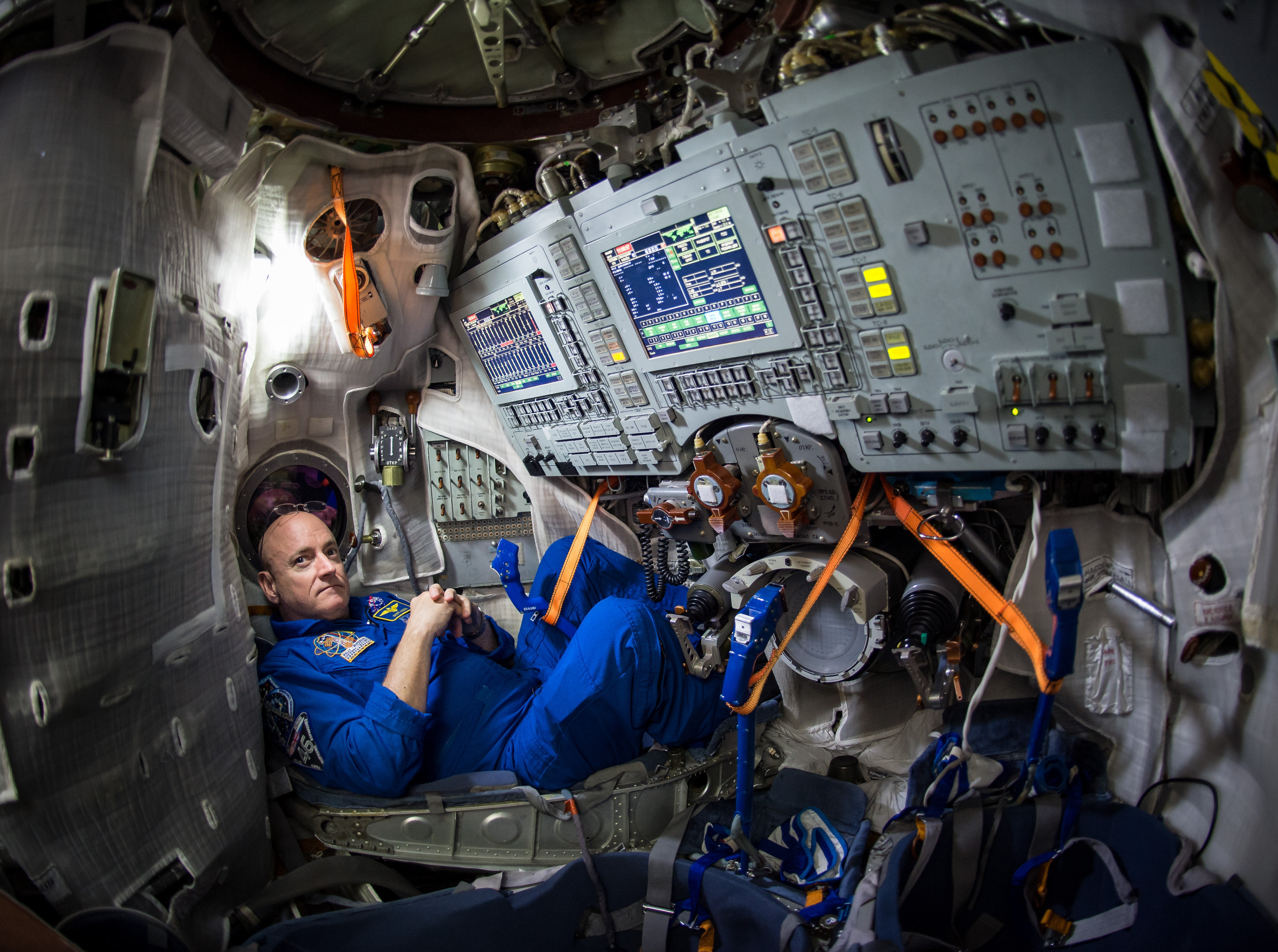 NASA astronaut Scott Kelly is seen inside a Soyuz simulator at the Gagarin Cosmonaut Training Center (GCTC), Wednesday, March 4, 2015 in Star City, east of Moscow
