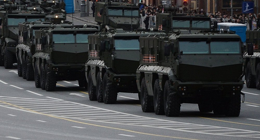 Typhoon-K and Typhoon-U armored vehicles and other military equipment are on Tverskaya Square in Moscow prior to the rehearsal of this year's Victory Day Parade