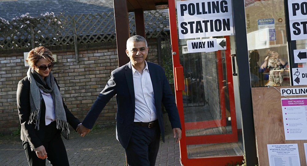 Sadiq Khan, Britain's Labour Party candidate for Mayor of London and his wife Saadiya leave after casting their votes for the London mayoral elections at a polling station in south London Britain May 5, 2016