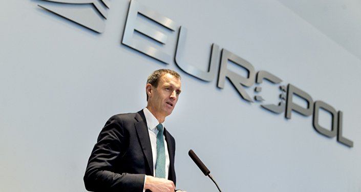 Rob Wainwright, Director of Europol, speaks during the launch of the European Migrant Smuggling Center (EMSC) at Europol's headquarters in The Hague, The Netherlands, on February 22, 2016.