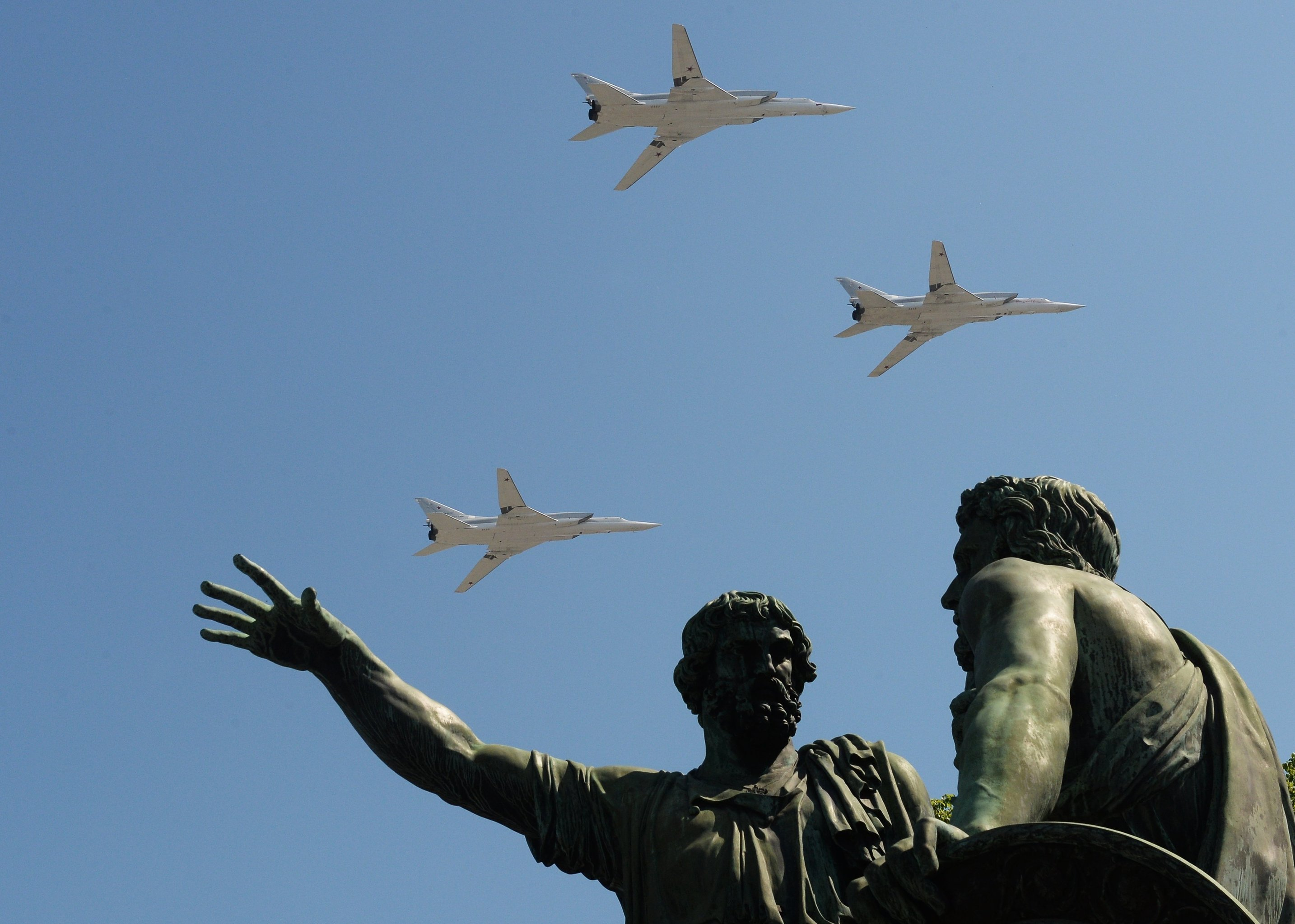 The Tu-22M3 bombers seen flying during the May 9 Victory Day Parade in Moscow