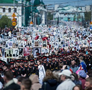 Participants of the Immortal Regiment march held in Moscow to mark the 71st anniversary of Victory in the 1941-1945 Great Patriotic War