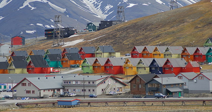 Rows of multicoloured homes in the town of Longyearbyen, Svalbard, Norway.