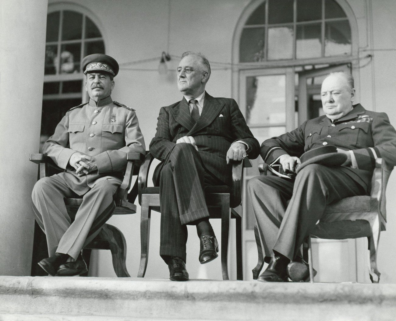 Josef Stalin, Franklin Roosevelt, and Winston Churchill at the WW2 Teheran Conference