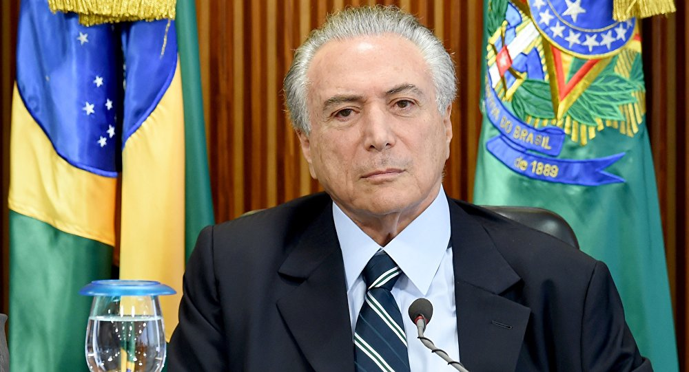 Brazilian acting President Michel Temer is seen during the first ministers meeting at the Planalto Palace in Brasilia