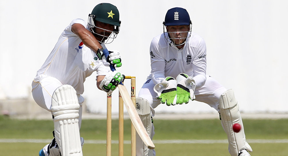 Pakistan's Fawad Alam (L) bats the ball during his team's warm up match against England (File)
