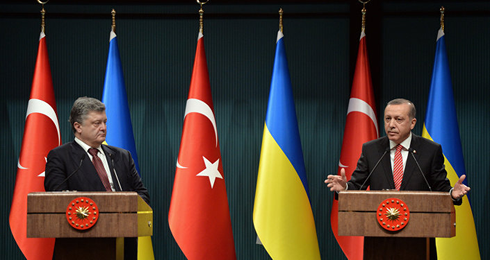 Turkey's President Recep Tayyip Erdogan, right, and Ukraine's President Petro Poroshenko (File)