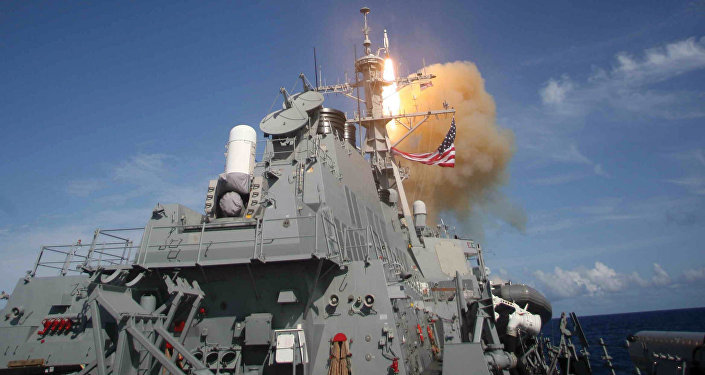 A Standard Missile (SM-3) is launched from the Aegis combat system equipped Arleigh Burke class destroyer USS Decatur (DDG 73) during a Missile Defense Agency ballistic missile flight test