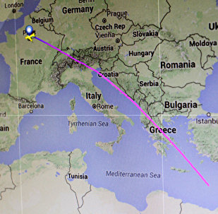 The flight path of EgyptAir flight MS804 from Paris to Cairo is seen on a flight tracking screen May 19, 2016
