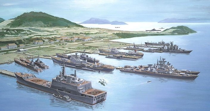 Cam Ranh Bay with Soviet Fleet, artist's rendering from 1985