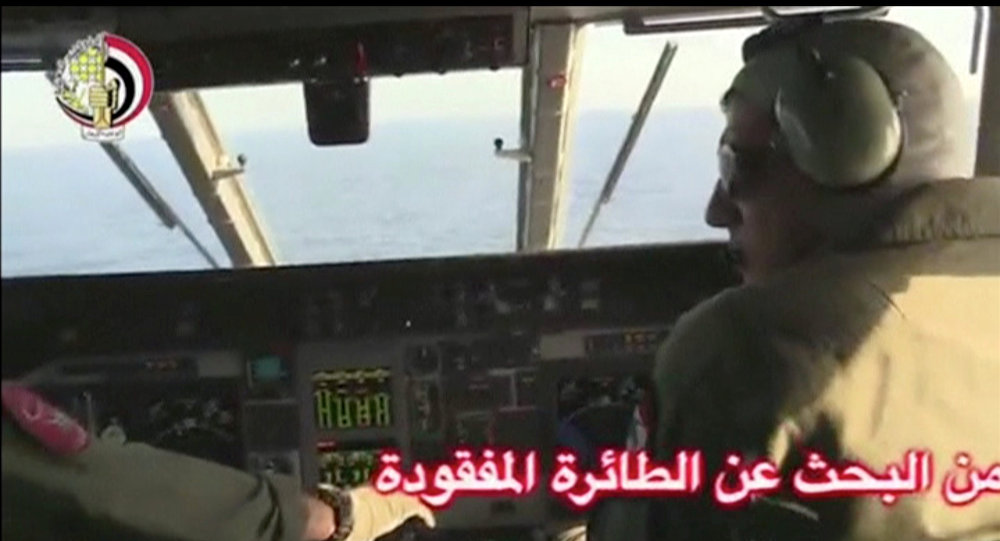 Pilots of an Egyptian military plane take part in a search operation for the EgyptAir plane that disappeared in the Mediterranean Sea in this still image taken from video May 19, 2016.