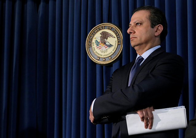 Preet Bharara, U.S. Attorney for the Southern District of New York, attends a news conference on Las Vegas sports bettor William Billy Walters and Dean Food's former chairman Thomas Davis, both charged with insider trading, in New York City, U.S. May 19, 2016