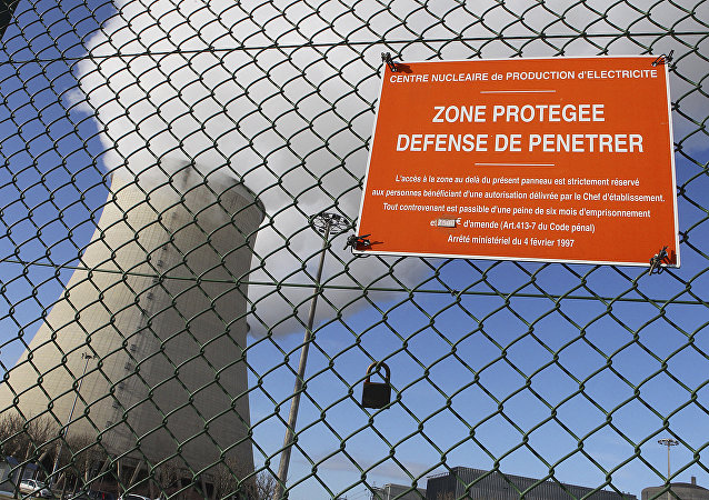Nogent-sur-Seine shows a sign reading proctected area, no tresspassing on the wires fence of the French nuclear plant (File)