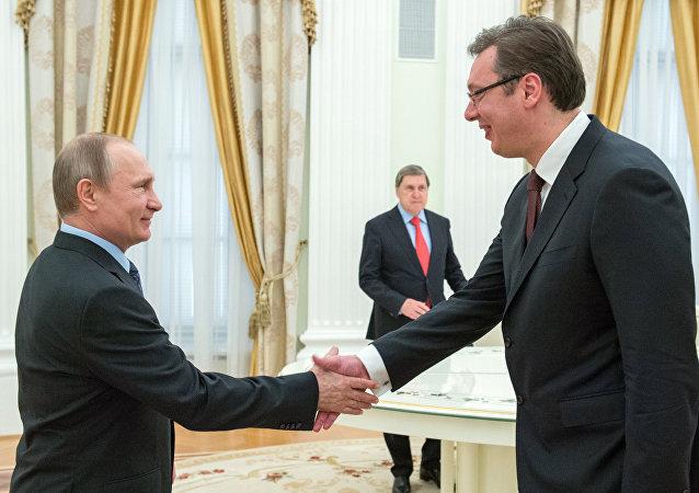 Russian President Vladimir Putin meets with Serbian Prime Minister Aleksandar Vucic