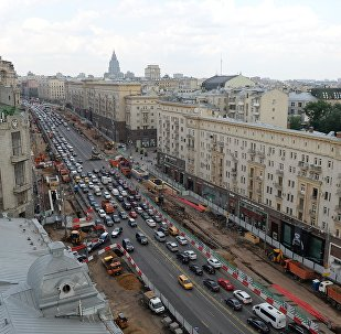Tverskaya Street in Moscow undergoes reconstruction