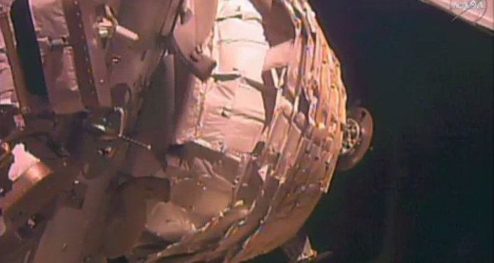 In this image taken from NASA video on Saturday, May 28, 2016, the Bigelow Expandable Activity Module, or BEAM, is in the process of being inflated.