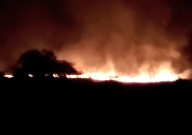 Huge fire is seen at the Pulgaon ammunition depot in Pulgaon in the Indian state of Maharastra