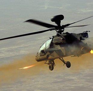 Apache Helicopter Firing Rockets