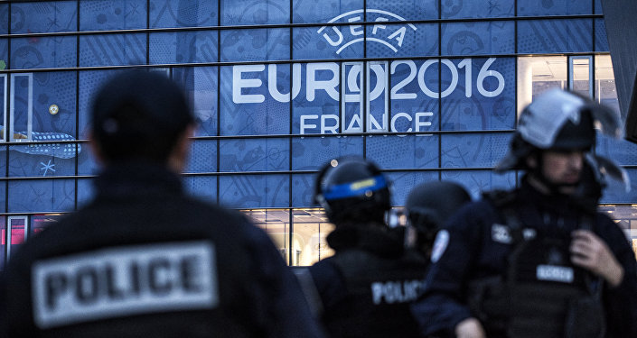Policemen take part in a mock suicide attack exercise as part of security measures for the upcoming Euro 2016 football championship, at the Parc Olympique Lyonnais stadium in Decines-Charpieu, near Lyon, central-eastern France, on May 30, 2016