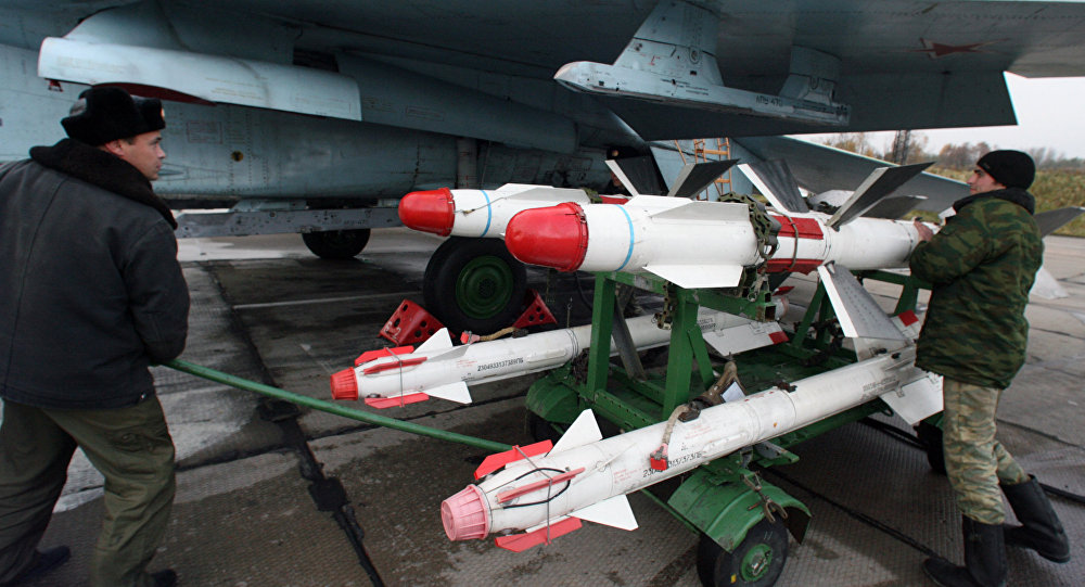 Su-27 being equipped with operational missiles Chkalovsk airdrome