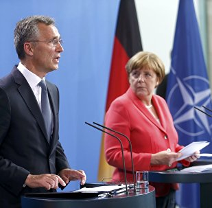German Chancellor Angela Merkel and NATO Secretary-General Jens Stoltenberg attend a news conference following talks at the Chancellery in Berlin, Germany, June 2, 2016.