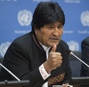 Bolivian President Evo Morales speaks to members of the media April 21, 2016 at the United Nations in New York
