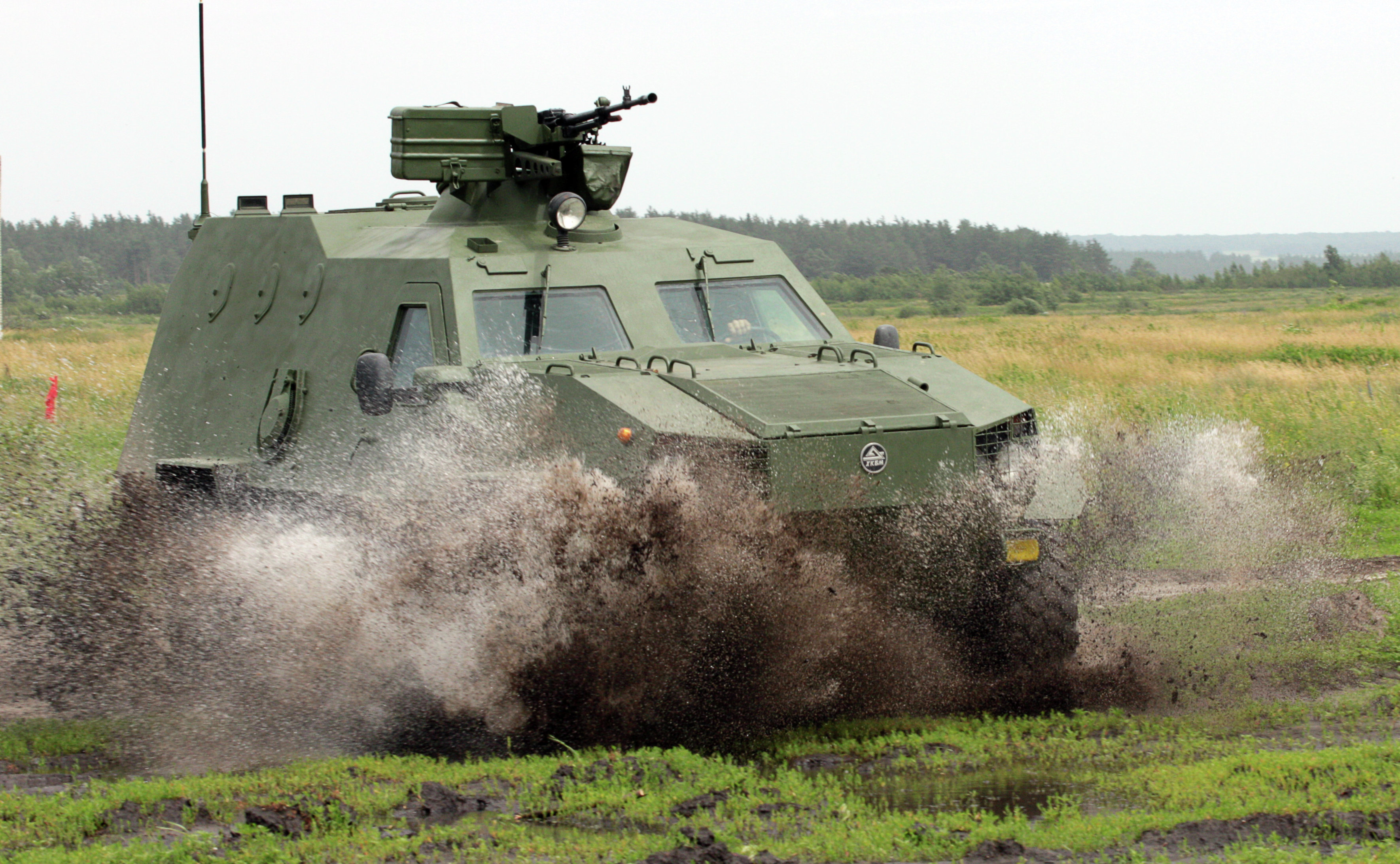 The Dozor-B, a new Ukrainian-made armored personnel carrier, undergoes testing at a training ground in Chuguyev, Kharkiv region.