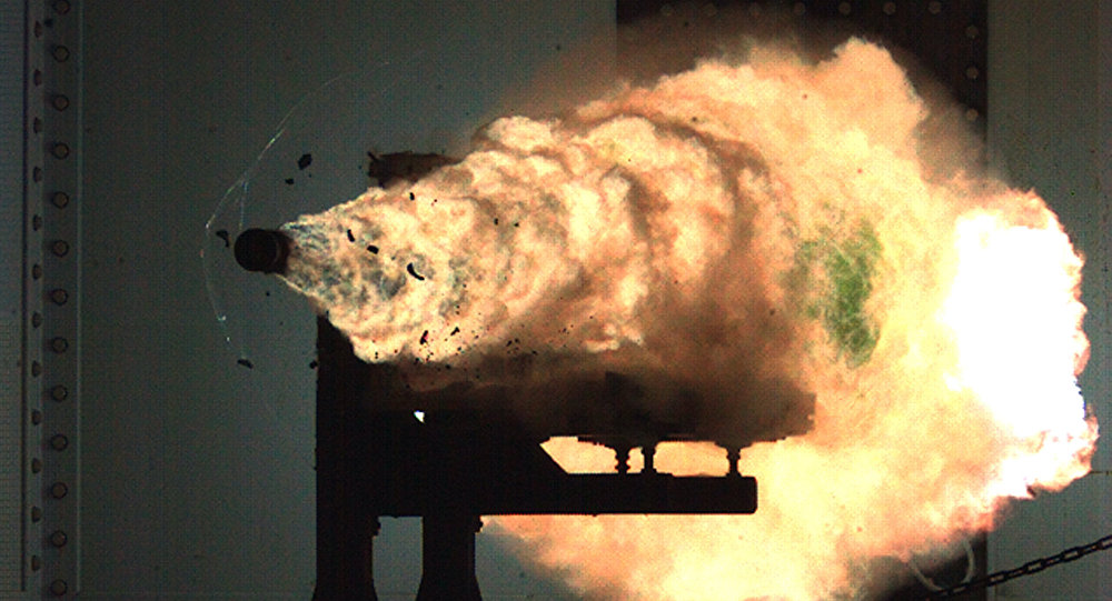 A photograph taken from a high-speed video camera during a  railgun firing at the Naval Surface Warfare Center on January 31, 2008