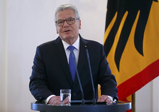 German President Joachim Gauck gives a press statement at the presidential residence Bellevue Palace in Berlin, Germany, June 6, 2016