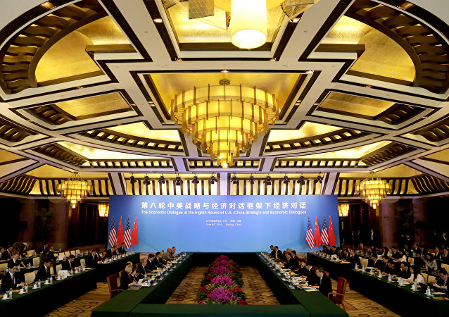U.S. and Chinese officials attend the 8th round of the U.S.-China Strategic and Economic Dialogue at Diaoyutai State Guest House in Beijing