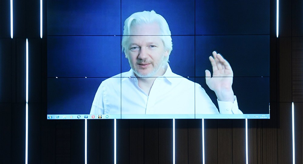 A video link up with Julian Assange, journalist, founder and editor-in-chief of WikiLeaks, at the session, End of the Monopoly: The Open Information Age, held as part of the New Era of Journalism: Farewell to Mainstream international media forum at the Rossiya Segodnya International Multimedia Press Center (File Photo).