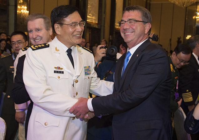 PLA Deputy Chief  General Staff Adm. Sun Jianguo and US Defense Secretary Ash Carter in Singapore