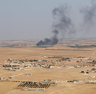 Smoke rises from villages in the southern rural area of Manbij, in Aleppo Governorate, Syria. file photo
