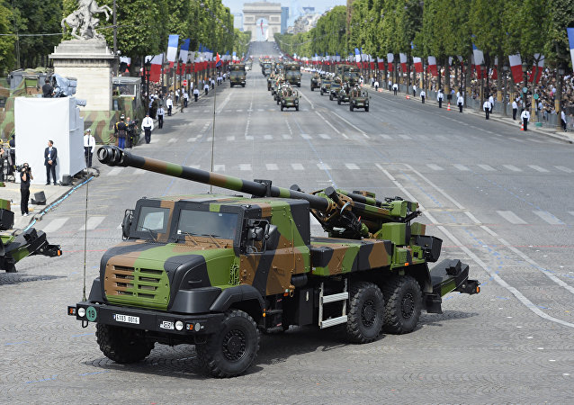 A Caesar vehicle of the 40th Artillery Regiment takes part in the annual Bastille Day military parade in Paris (File)