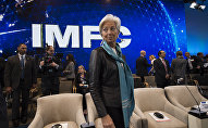 IMF Managing Director Christine Lagarde arrives for the IMFC Plenary Session during the IMF and World Bank Group 2016 Spring Meetings on April 16, 2016 in Washington, DC
