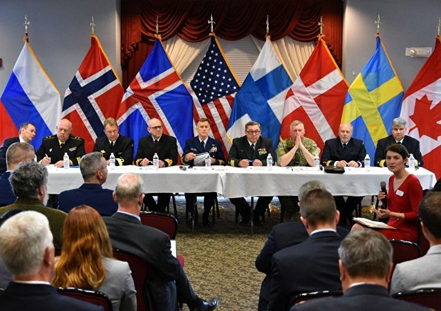 The heads of the eight Arctic nations' coast guards take part in the Arctic Coast Guard Forum Academic Roundtable at Coast Guard base Boston