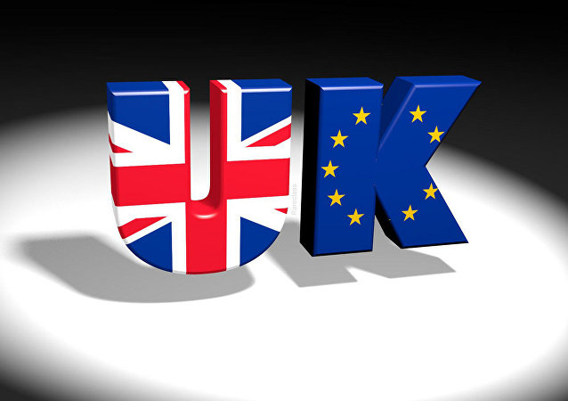 UK/EU text logo with Union Jack and European flag images