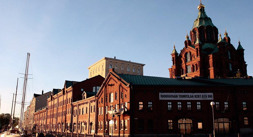 Finland. Helsinki. Kanava Terminal and Assumption Cathedral.