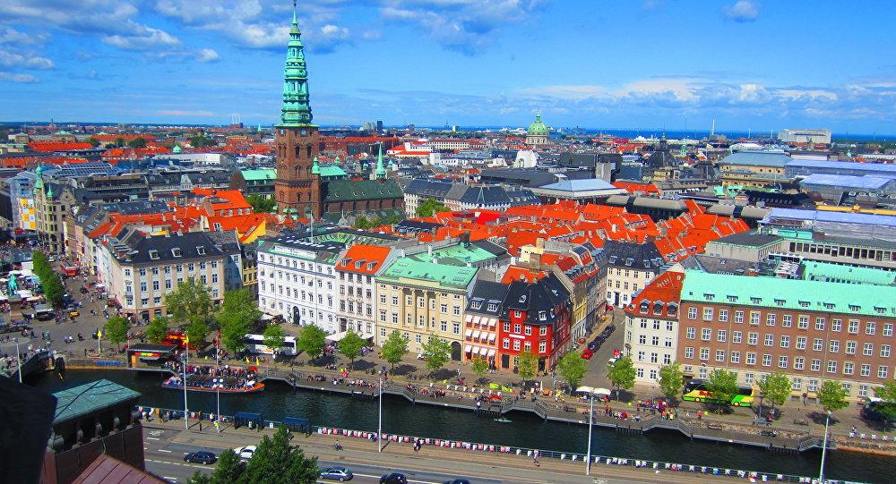 Copenhagen skyline from Christiansborg Slot tower.