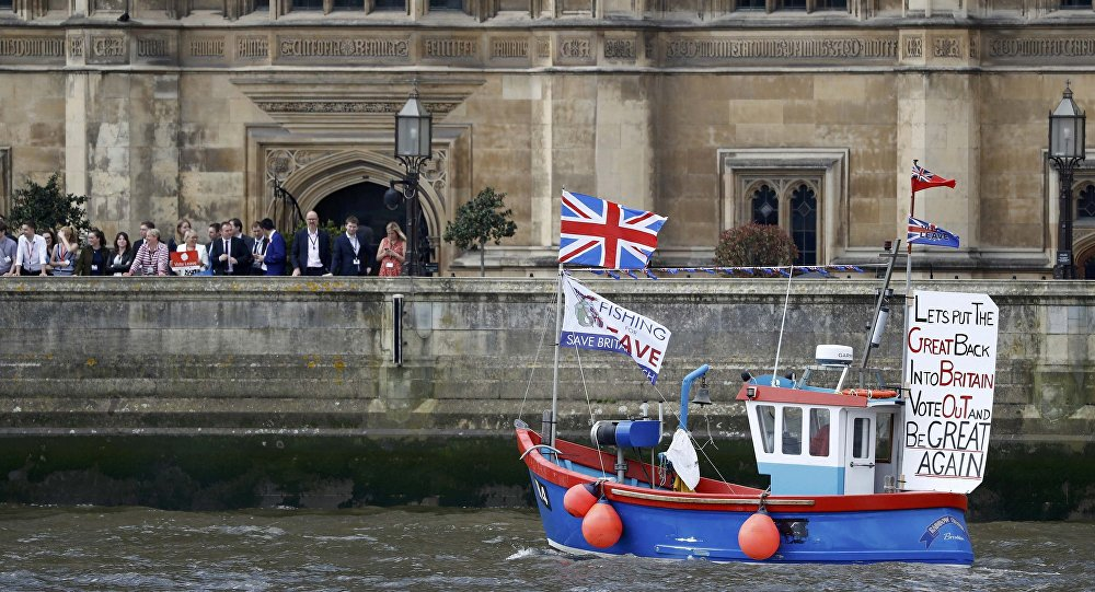 Part of a flotilla of fishing vessels campaigning to leave the European Union sails past Parliament on the river Thames in London, Britain June 15, 2016.