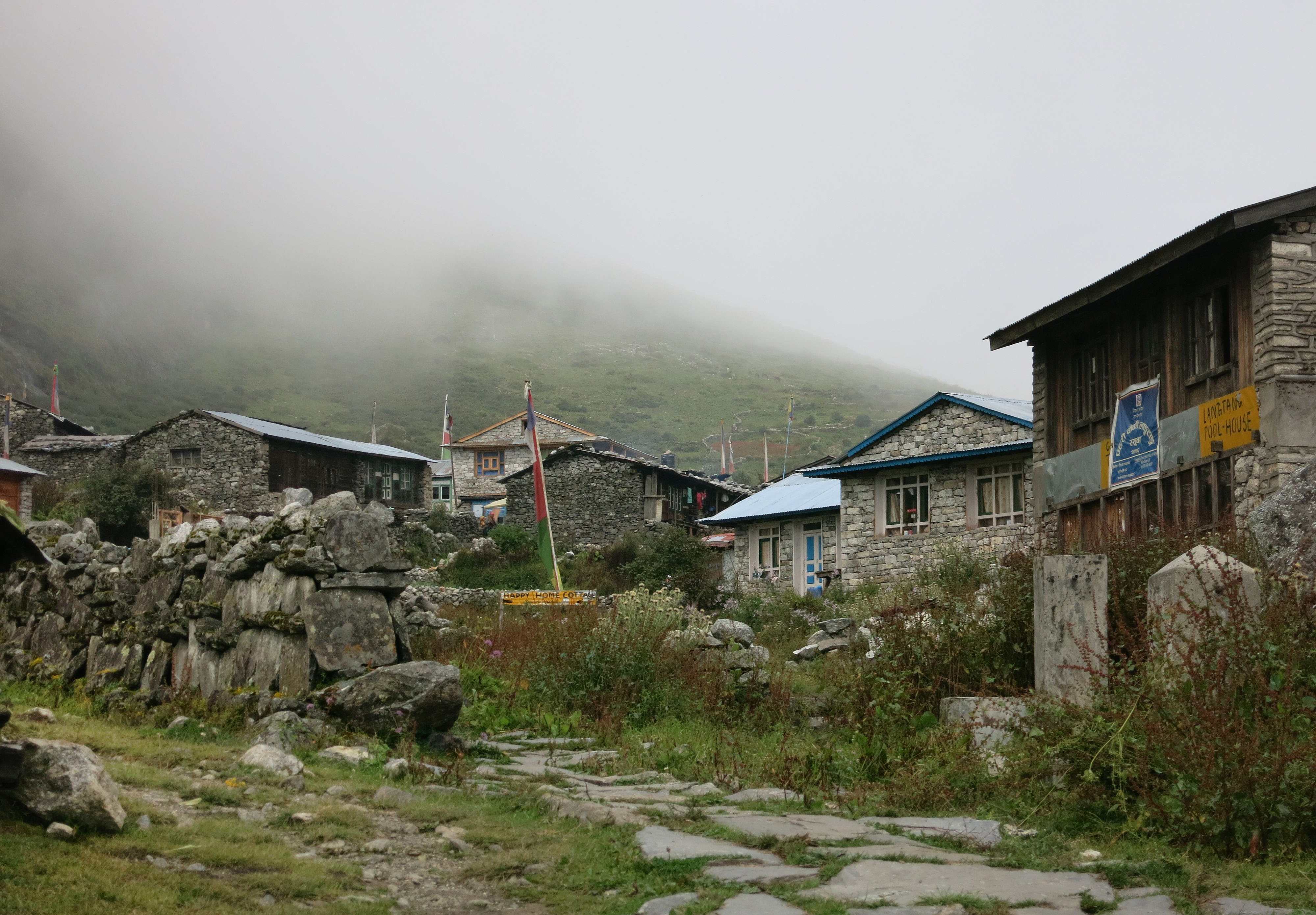 This photo taken on September 11, 2014 shows a general view of the village of Langtang, in the remote Nepalese district of Rasuwa bordering China's Tibet