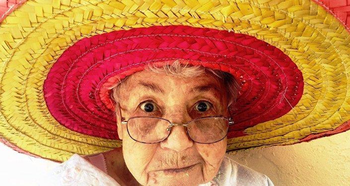 A woman wearing a sombrero