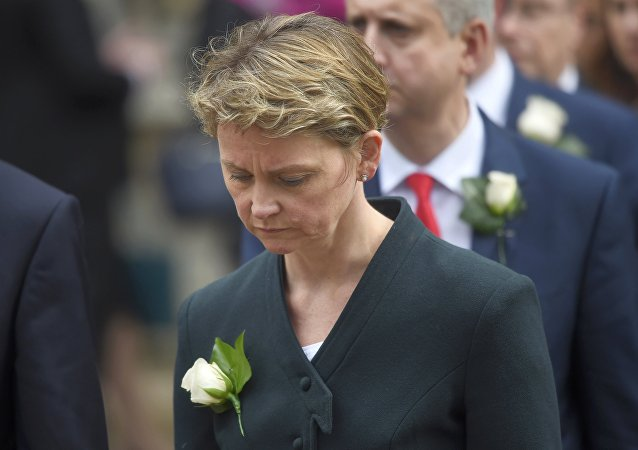 Labour MP Yvette Cooper walks from Parliament to St Margaret's Church for a service of remembrance for Labour MP Jo Cox who was shot and stabbed to death last week outside her constituency surgery, in Westminster, London, June 20, 2016.