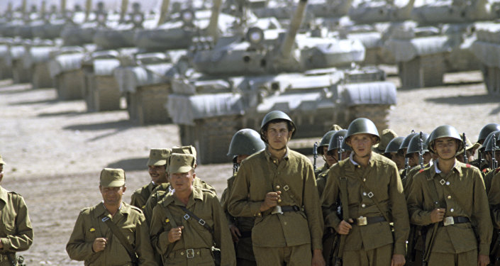 Guards Armor Regiment before departure to Russia. Soviet troops withdrawal from Afghanistan. (File)