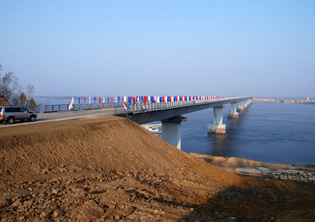 Bridge over Amur channel on Bolshoi Ussurisky island opens